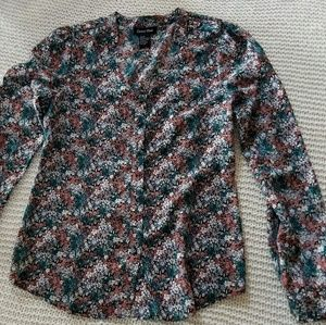 Multi color floral central park button up blouse